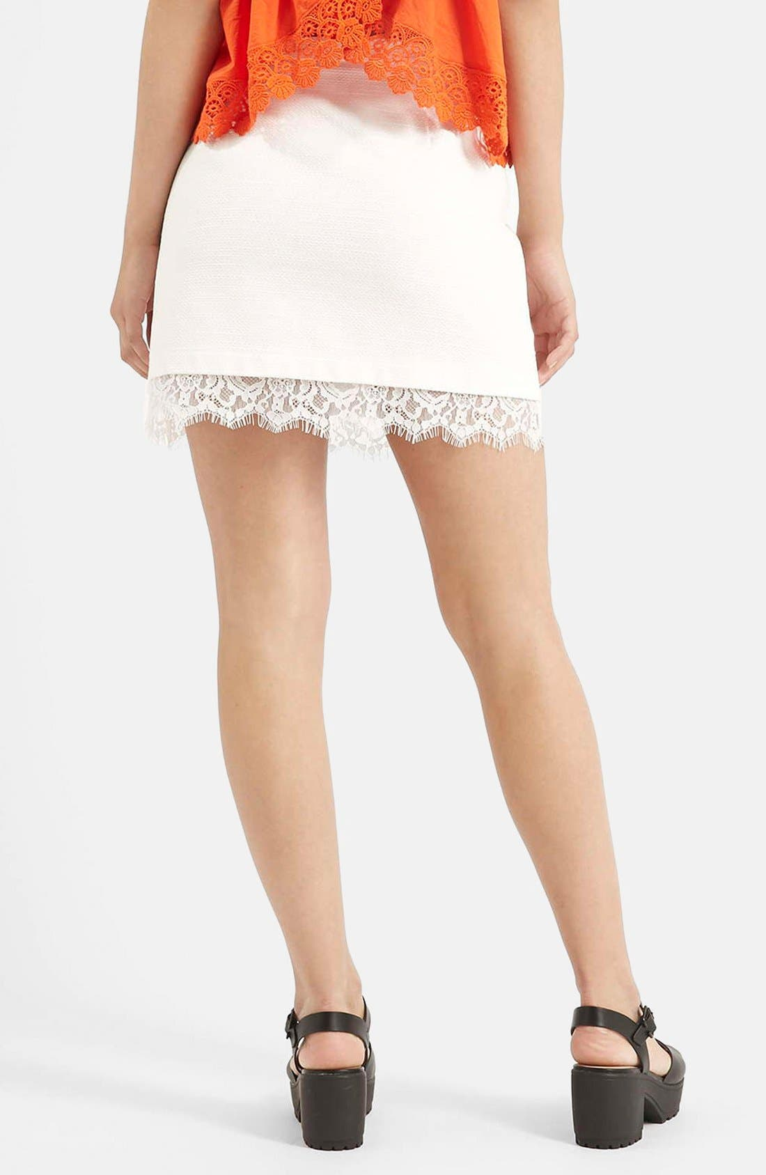 Alternate Image 2  - Topshop Textured Lace Hem Miniskirt