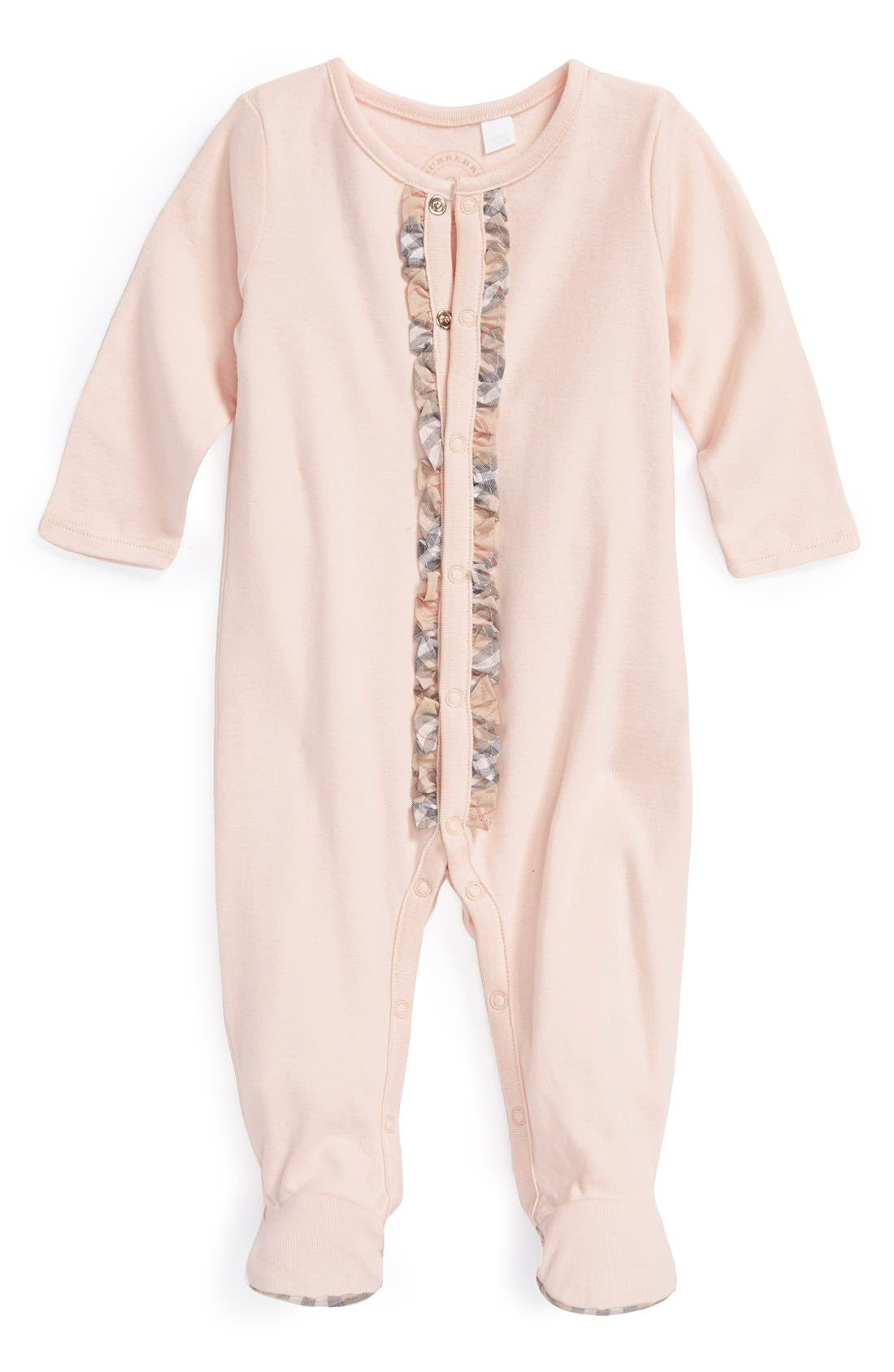 Alternate Image 1 Selected - Burberry Cotton One-Piece (Baby Girls)