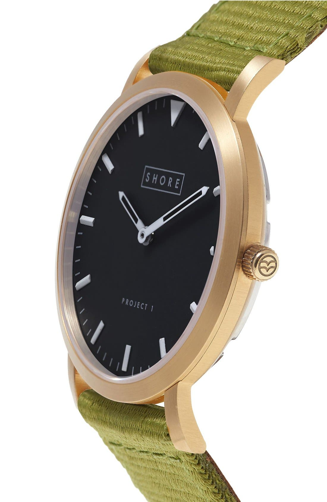 Alternate Image 5  - Shore Projects 'Project 1' Leather & Nylon Strap Watch, 39mm
