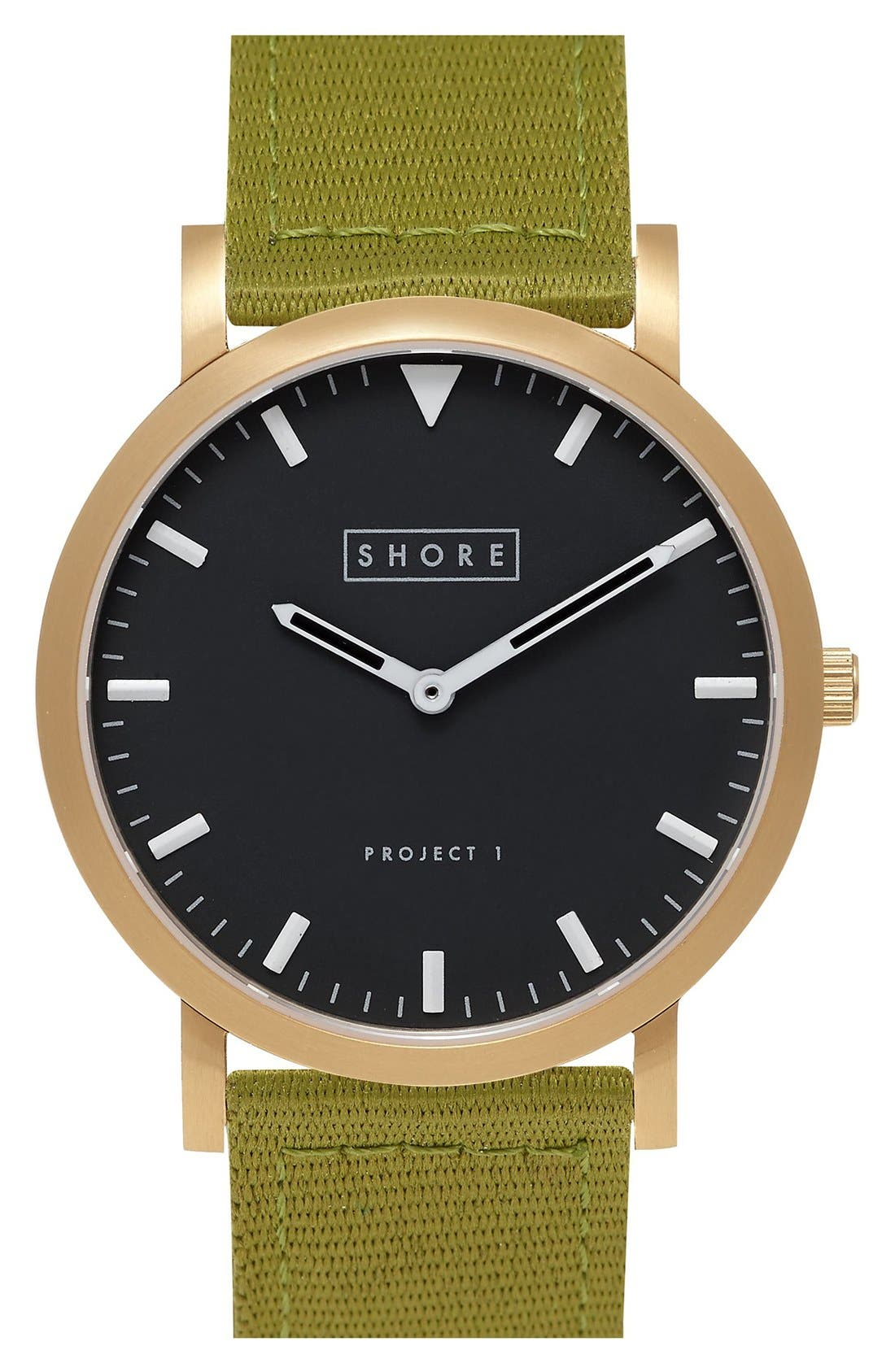 Alternate Image 1 Selected - Shore Projects 'Project 1' Leather & Nylon Strap Watch, 39mm