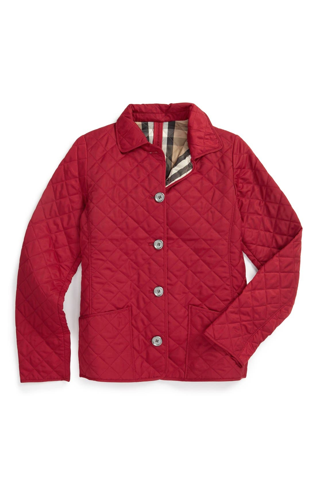 Alternate Image 1 Selected - Burberry Quilted Check Trim Coat (Little Girls)