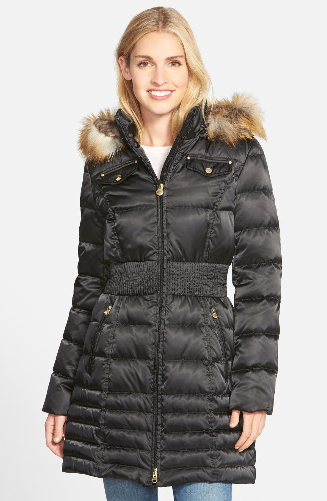 Main Image - Laundry by Shelli Segal Faux Fur Trim Ruched Waist Down & Feather Fill Hooded Coat