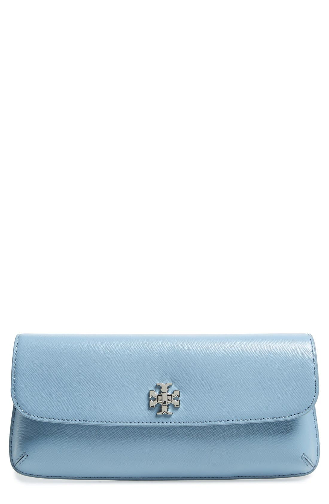 Main Image - Tory Burch 'Slim Diana' Saffiano Leather Flap Clutch