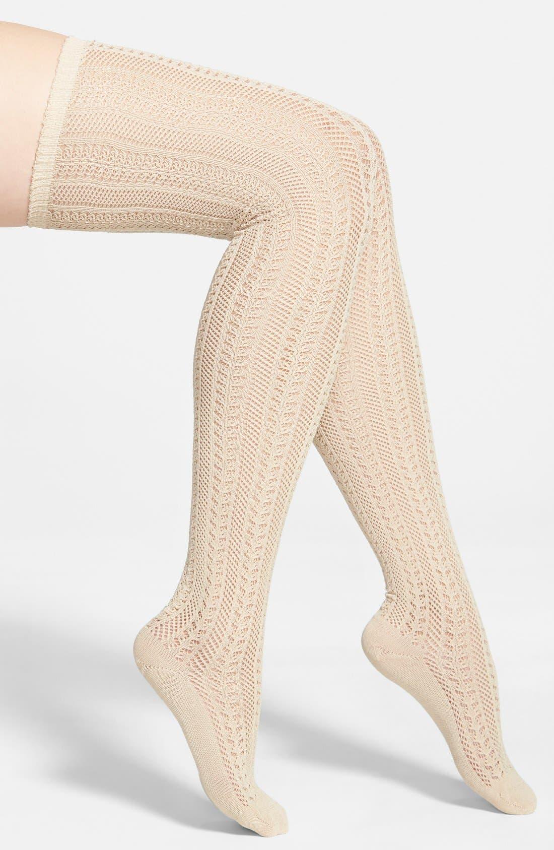 Main Image - Free People 'Hammock' Openwork Knit Thigh High Socks