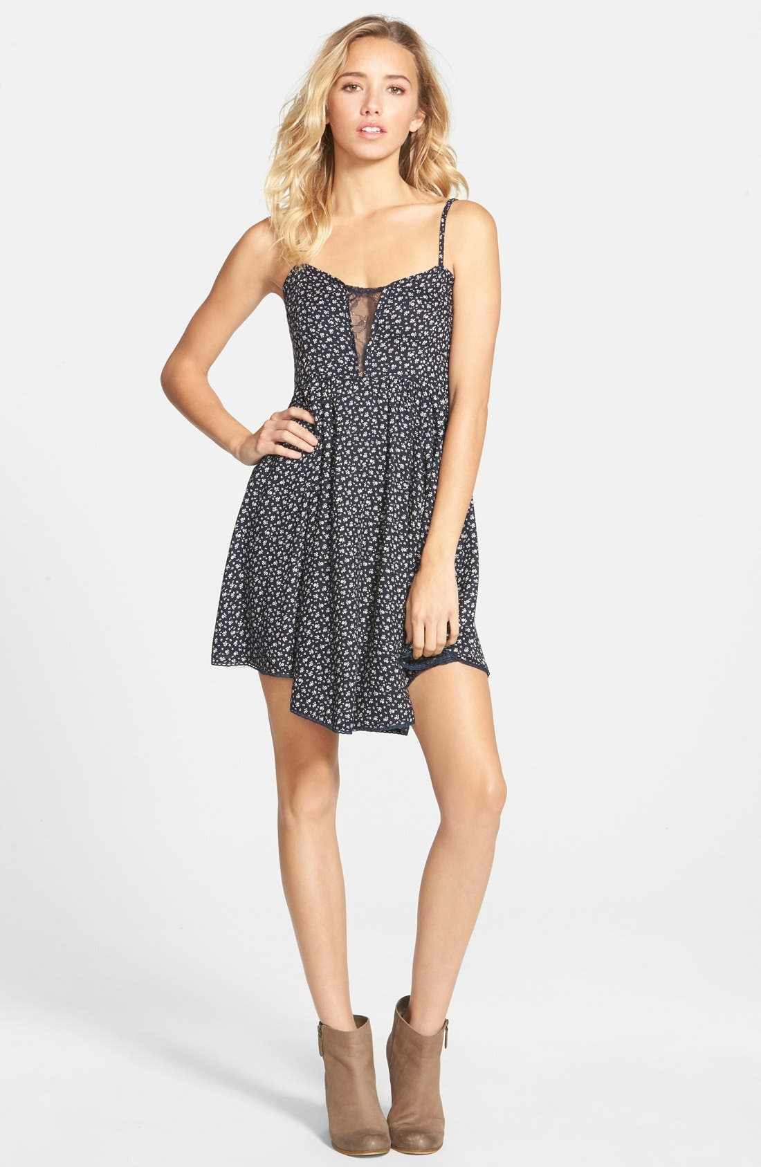 Main Image - Angie Lace Accent Babydoll Dress
