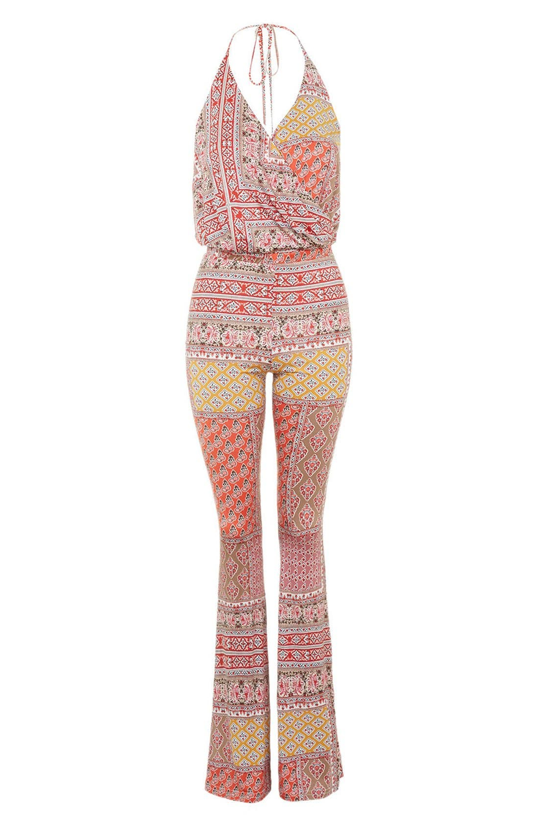 Alternate Image 4  - Topshop 'All in 1' Scarf Print Flare Jumpsuit