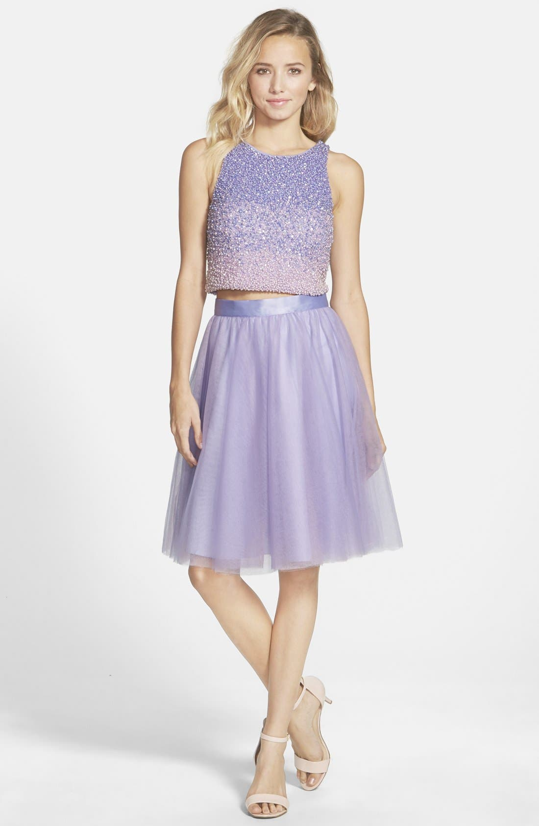 Main Image - Glamour by Terani Couture Beaded Top & Tulle Two-Piece Dress