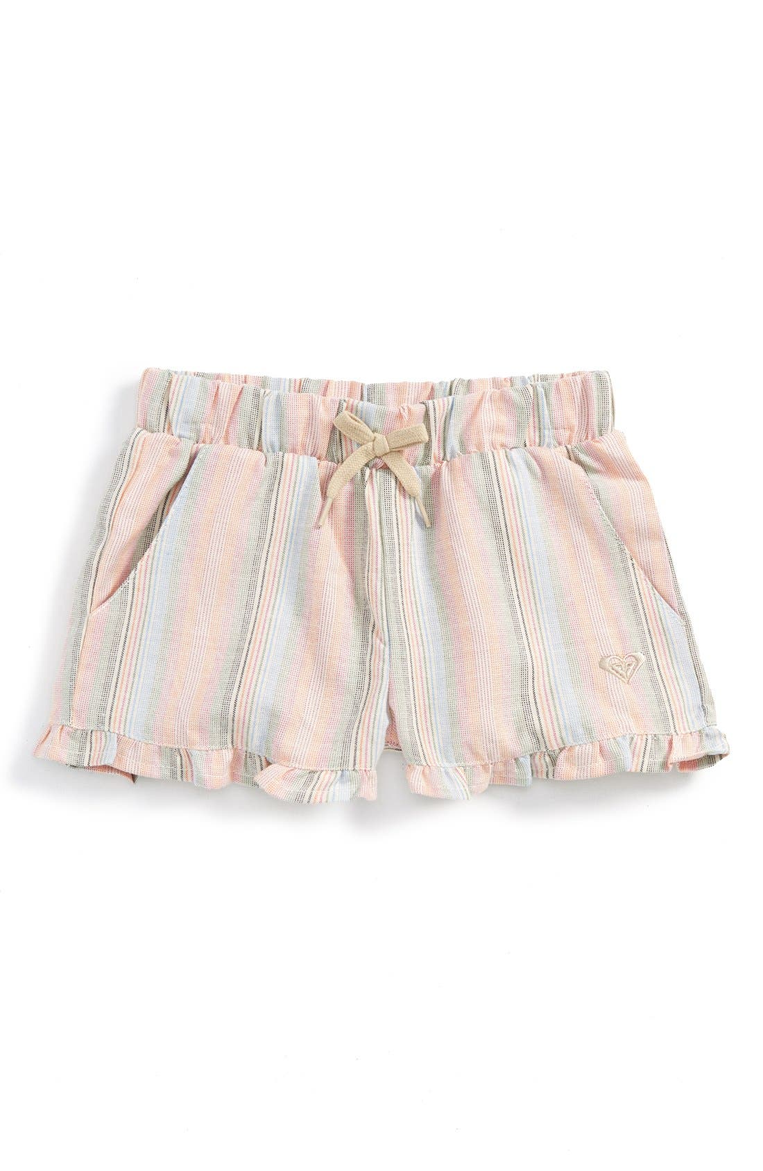 Main Image - Roxy 'Ruffled Feathers' Stripe Shorts (Baby Girls)