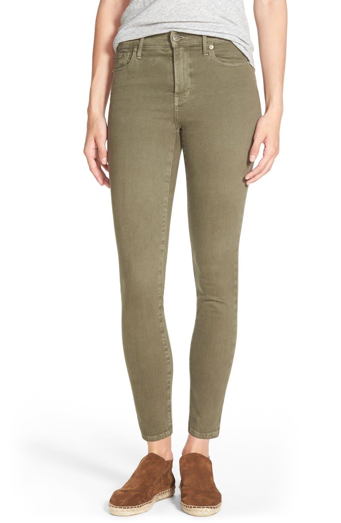 Alternate Image 1  - Madewell 'High Riser' Garment Dyed Skinny Skinny Jeans (Cargo Green)