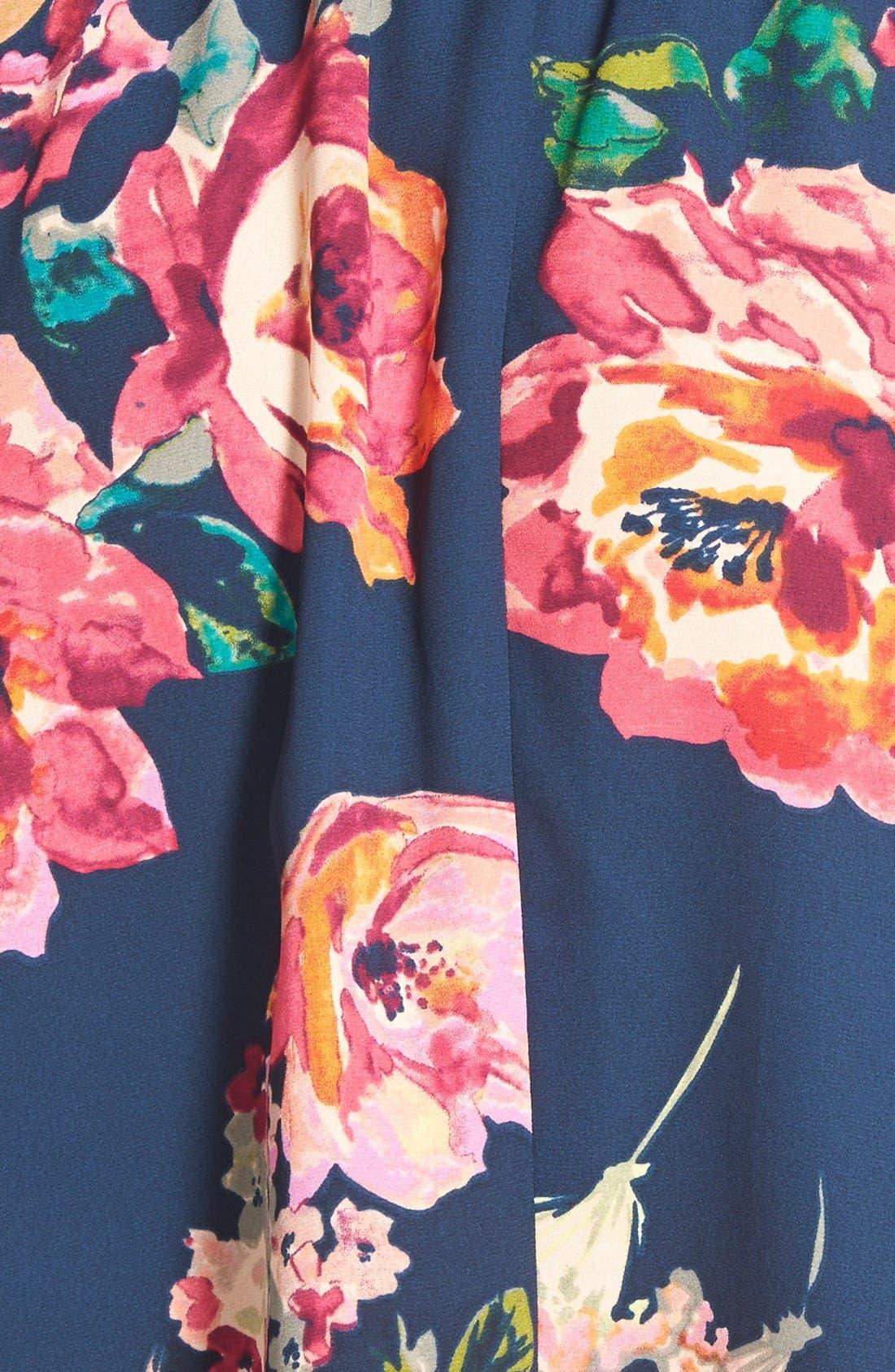Alternate Image 3  - Everly Floral Print Strap Back Skater Dress