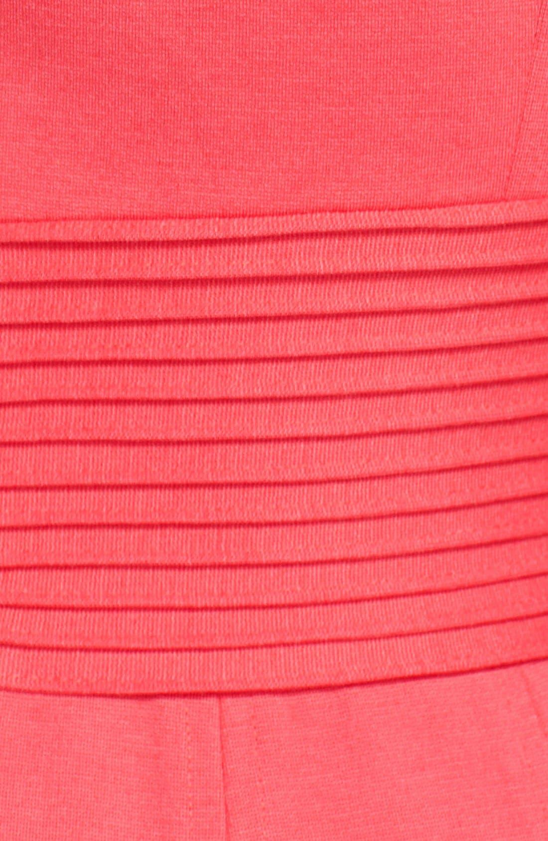 Alternate Image 4  - Eliza J Pintucked Waist Seamed Ponte Knit Fit & Flare Dress