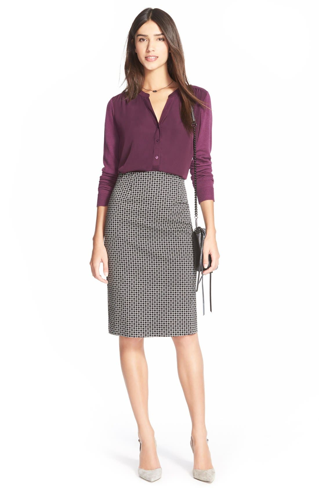 Alternate Image 4  - Halogen® Print Pencil Skirt (Regular & Petite)