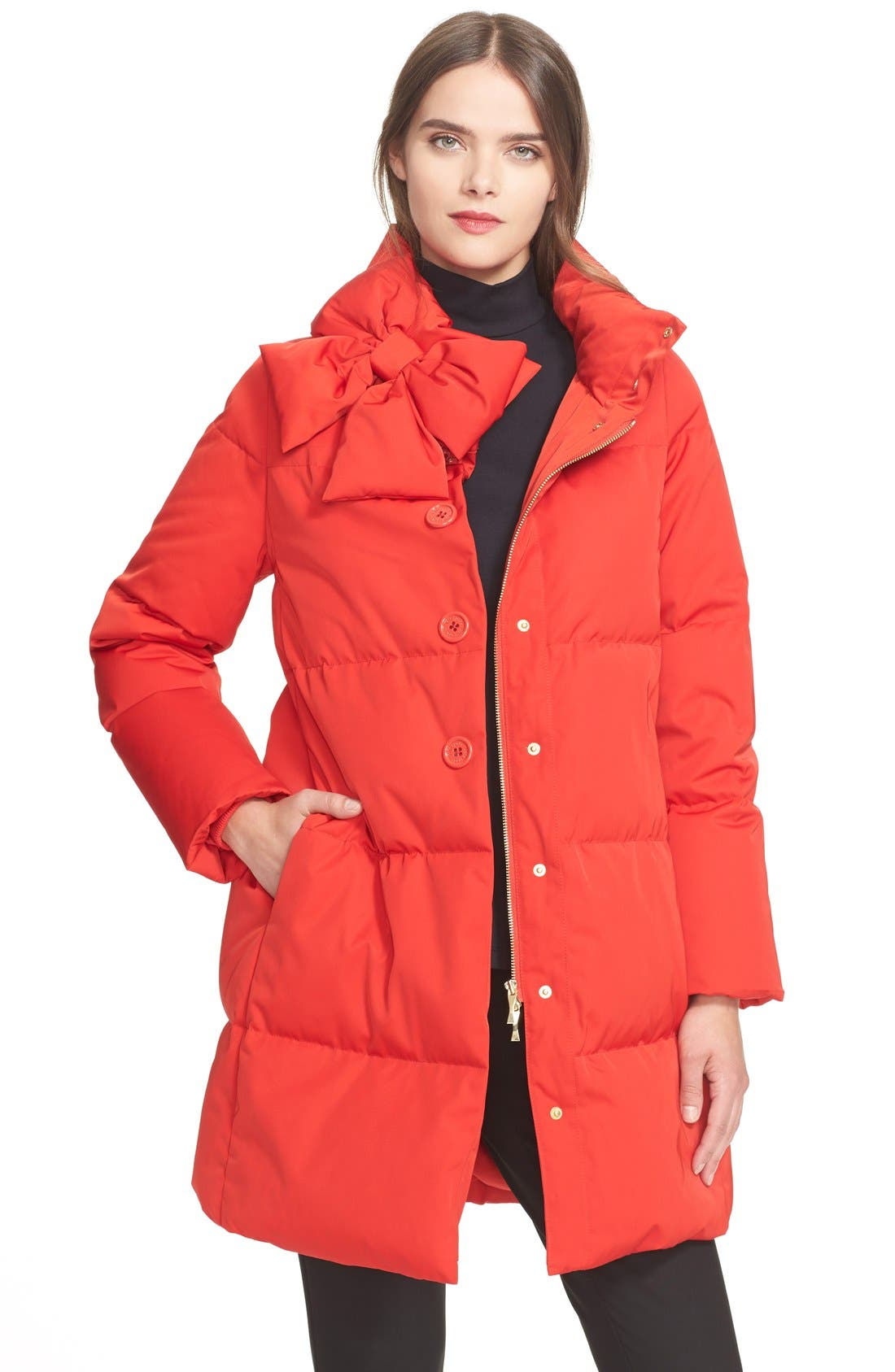 Main Image - kate spade new york funnel neck puffer coat
