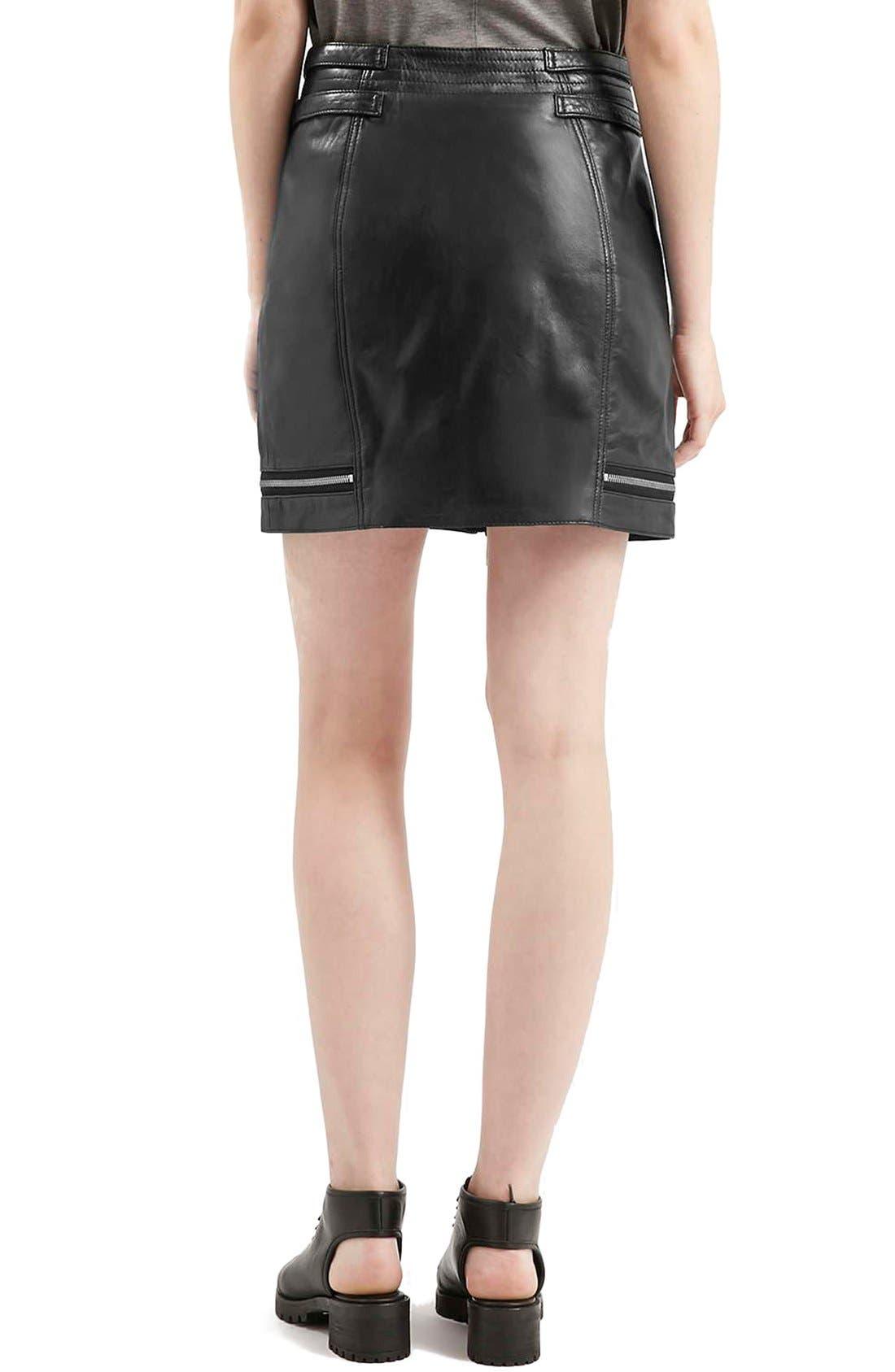 Alternate Image 3  - Topshop Zip Leather Miniskirt