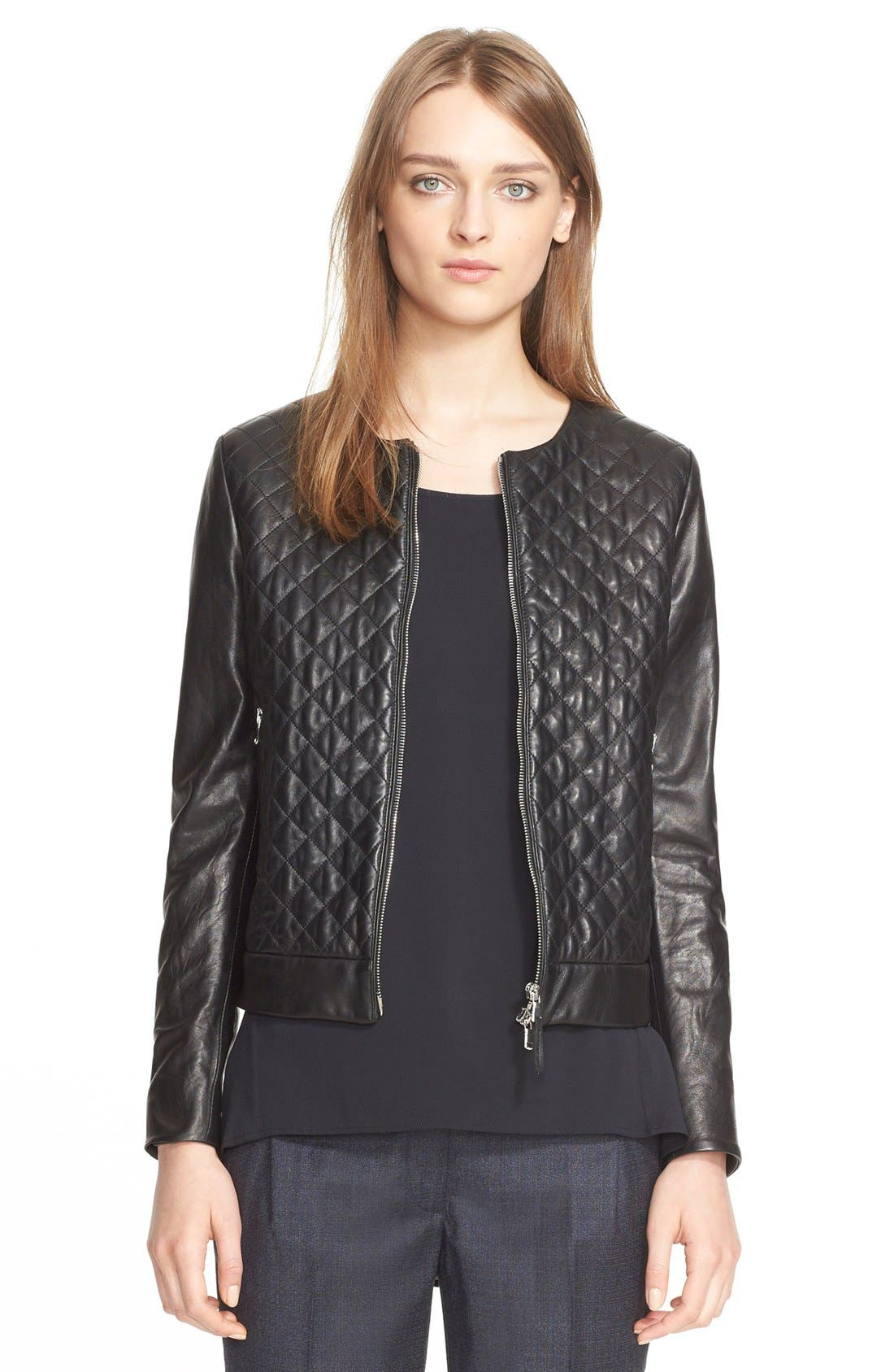 Main Image - Eleventy Diamond Quilted Leather Jacket