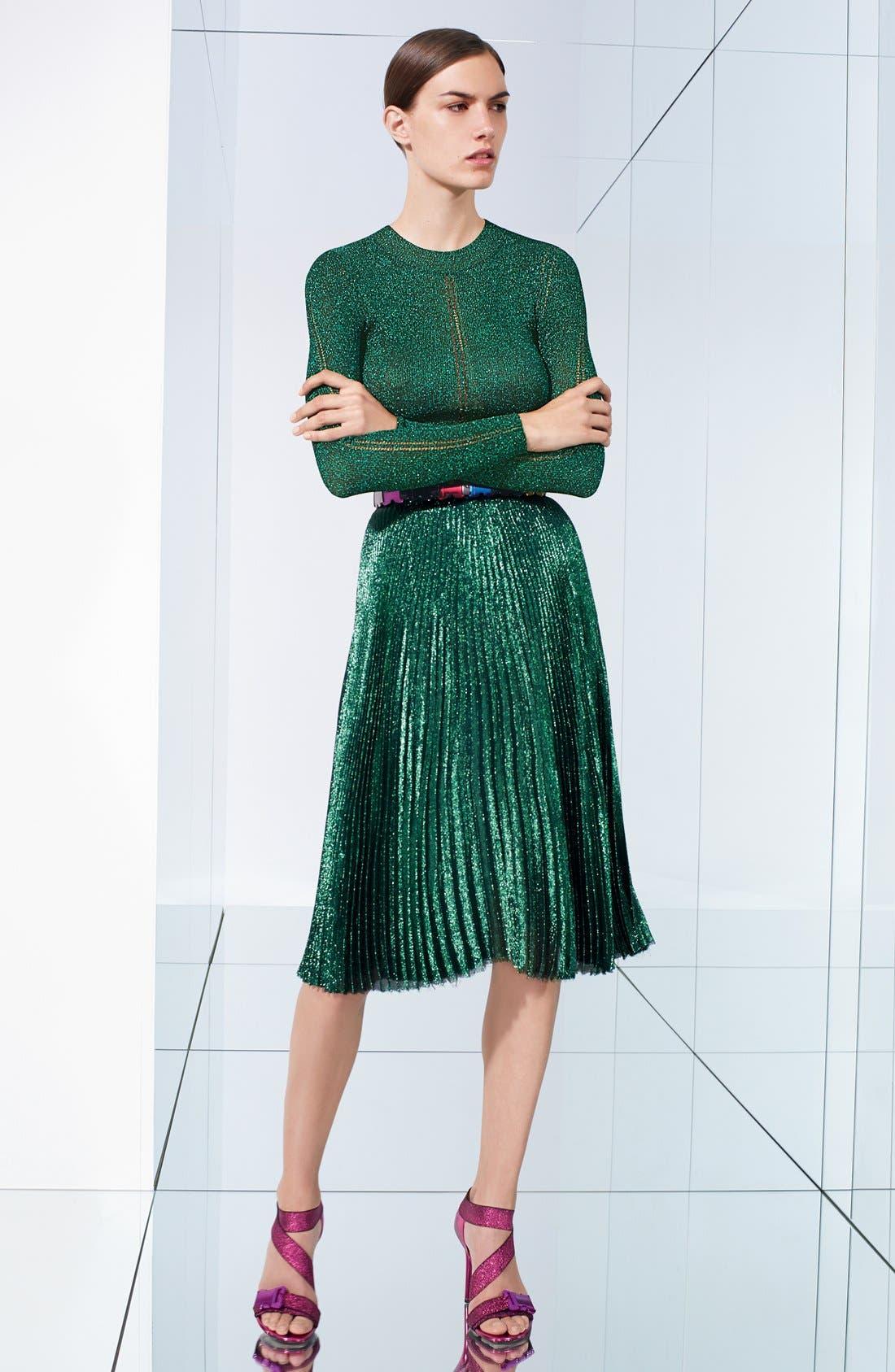 Alternate Image 4  - Christopher Kane Lamé Pleated Midi Skirt