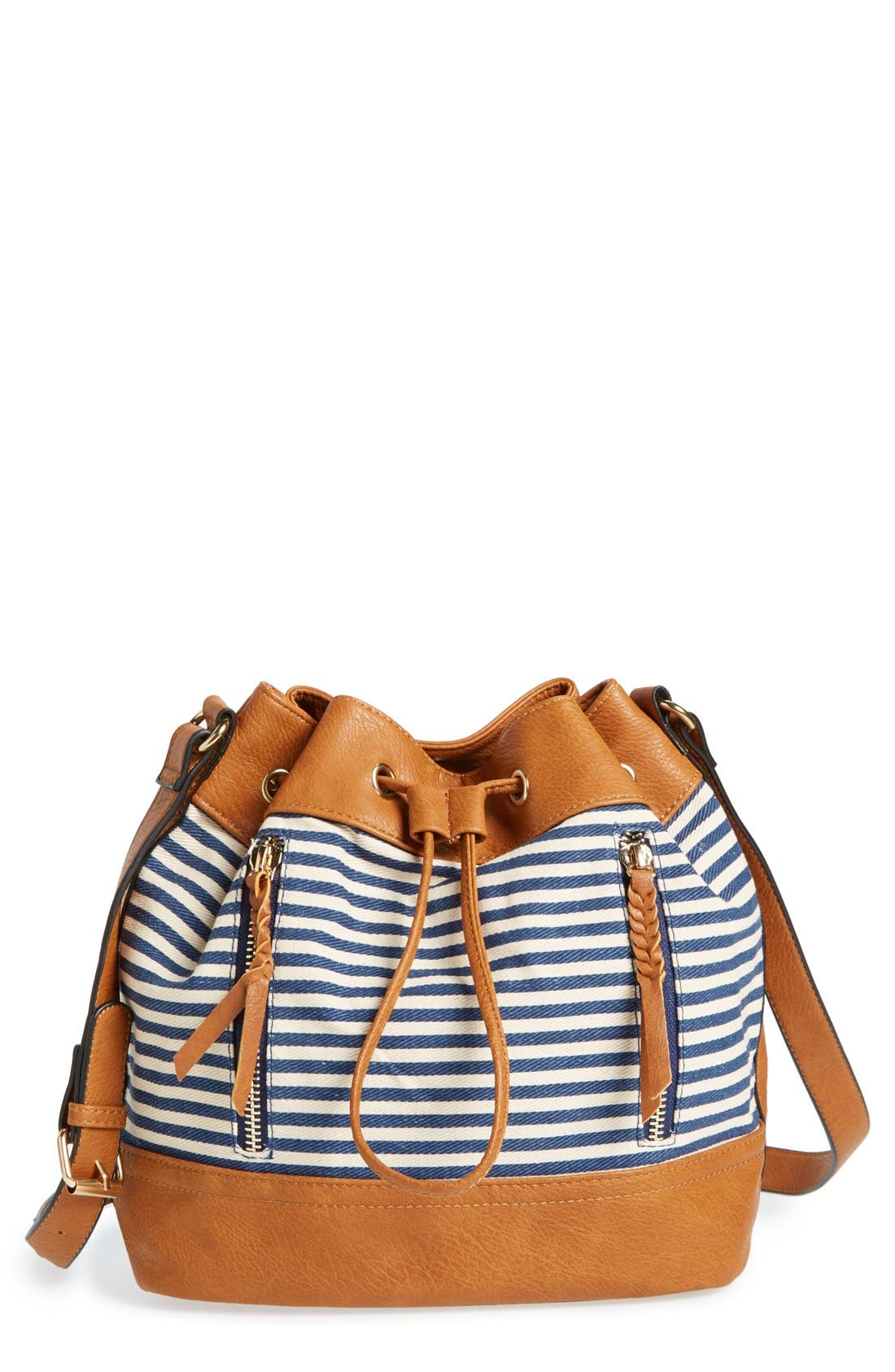 Alternate Image 1 Selected - Sole Society Stripe Canvas Mini Bucket Bag