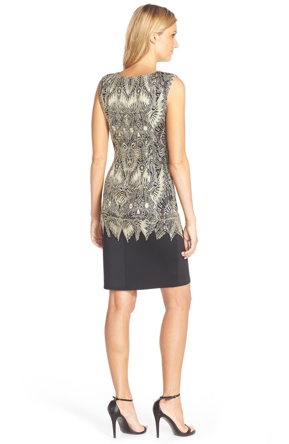 Alternate Image 2  - TadashiShojiEmbroidered NeopreneSheath Dress
