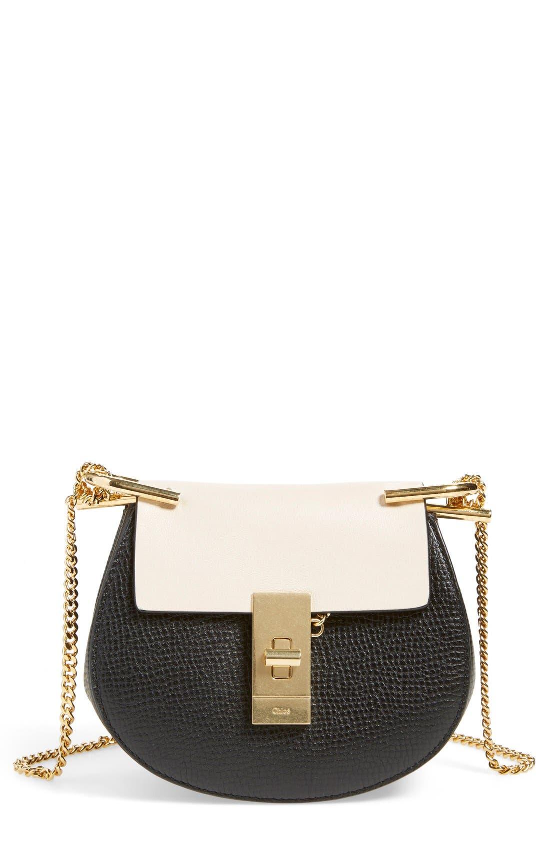 Main Image - Chloé 'Nano Drew' Lambskin & Calfskin Leather Shoulder Bag
