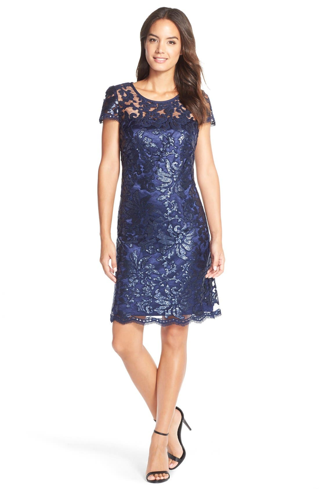 Alternate Image 1 Selected - Donna Ricco Sequin Illusion Lace Shift Dress