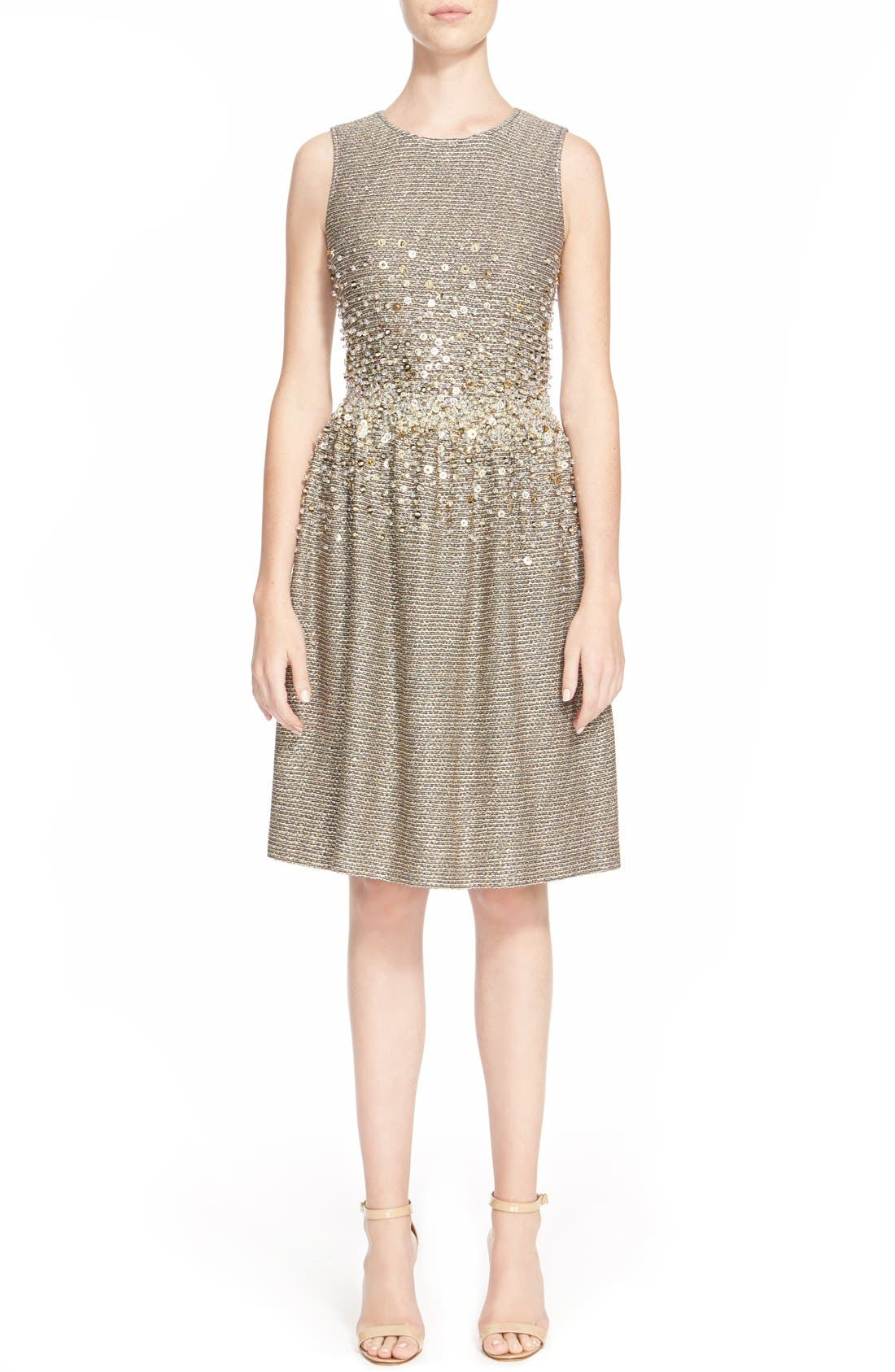 Alternate Image 1  - St. John Collection Hand Beaded Bauble Knit Dress