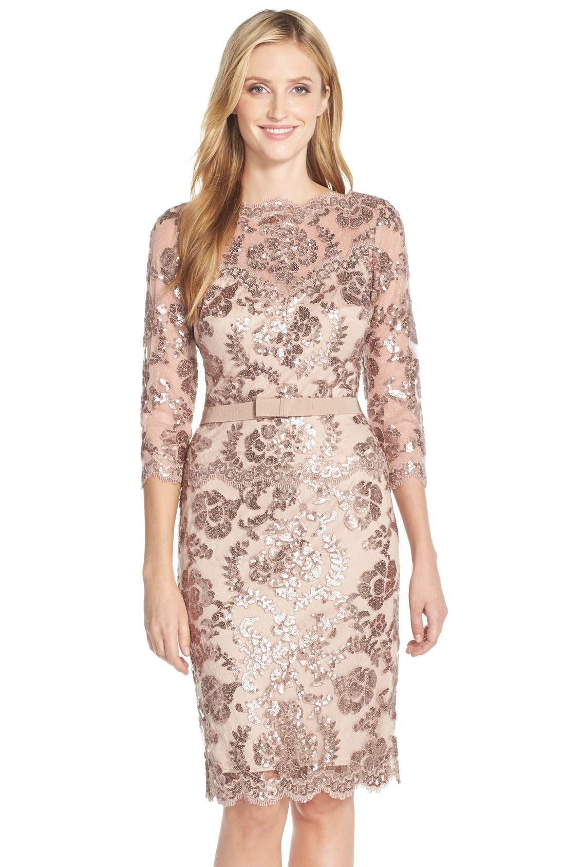 Alternate Image 1 Selected - Tadashi Shoji Embroidered Lace Belted Dress (Regular & Petite)