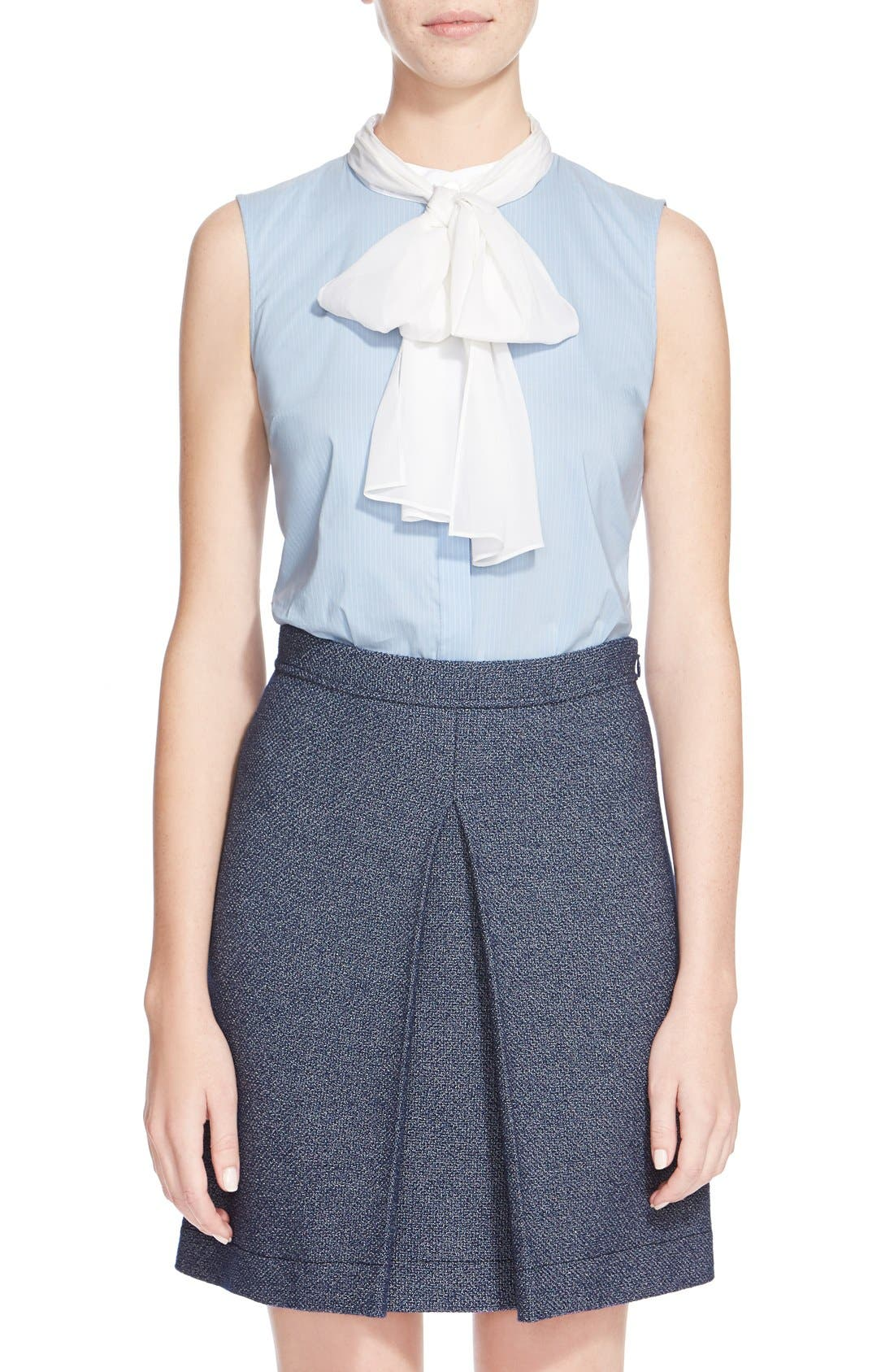 Alternate Image 1  - St. John Collection Pinstripe Blouse with Detachable Silk Georgette Scarf