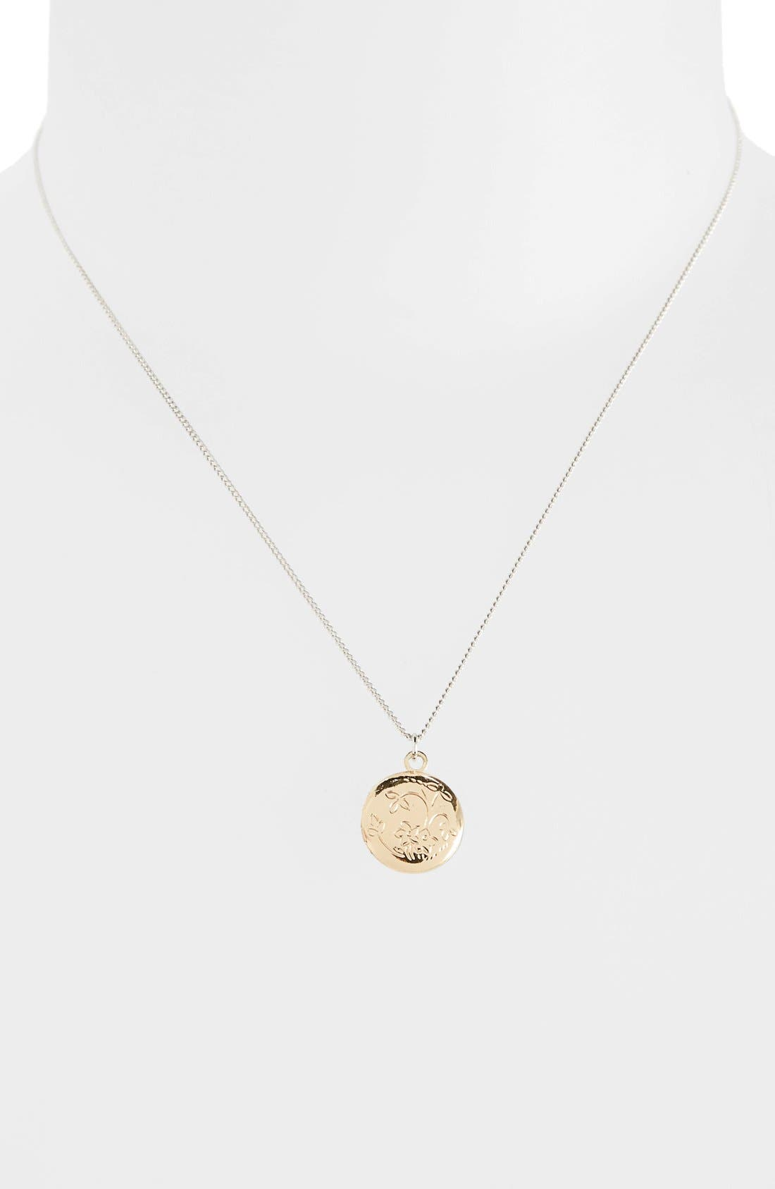 Main Image - Topshop Two Tone Locket Necklace