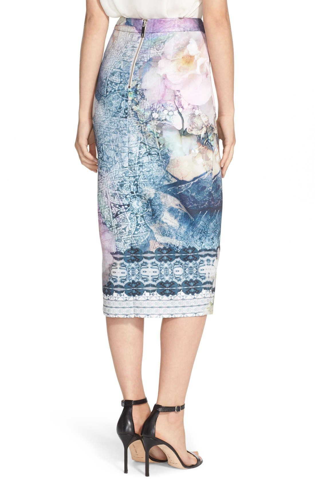 Alternate Image 2  - Ted Baker London 'Sinda' Print Midi Pencil Skirt