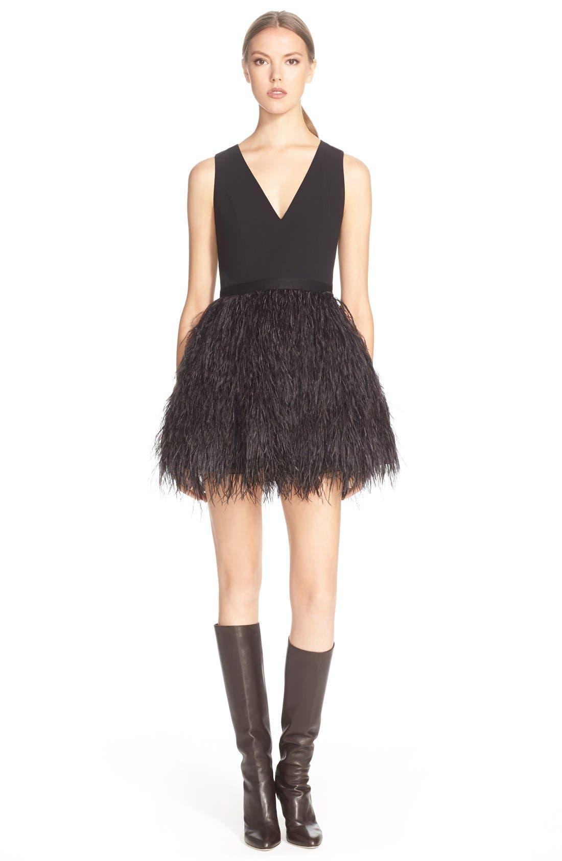 Main Image - Alice+Olivia'Kiara'FeatherSkirt Fit & Flare Dress