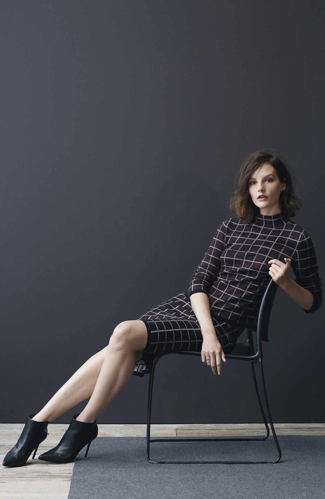 Alternate Image 2  - Halogen® Windowpane Check Knit Pencil Skirt (Regular & Petite)