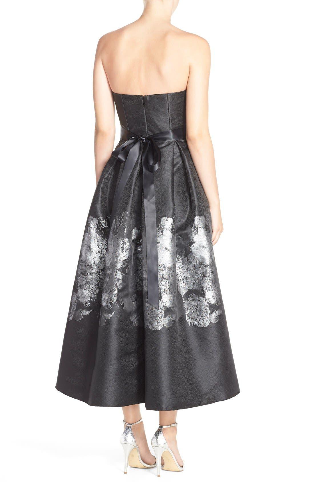 Alternate Image 2  - Betsy & Adam Metallic Jacquard High/Low Fit & Flare Dress