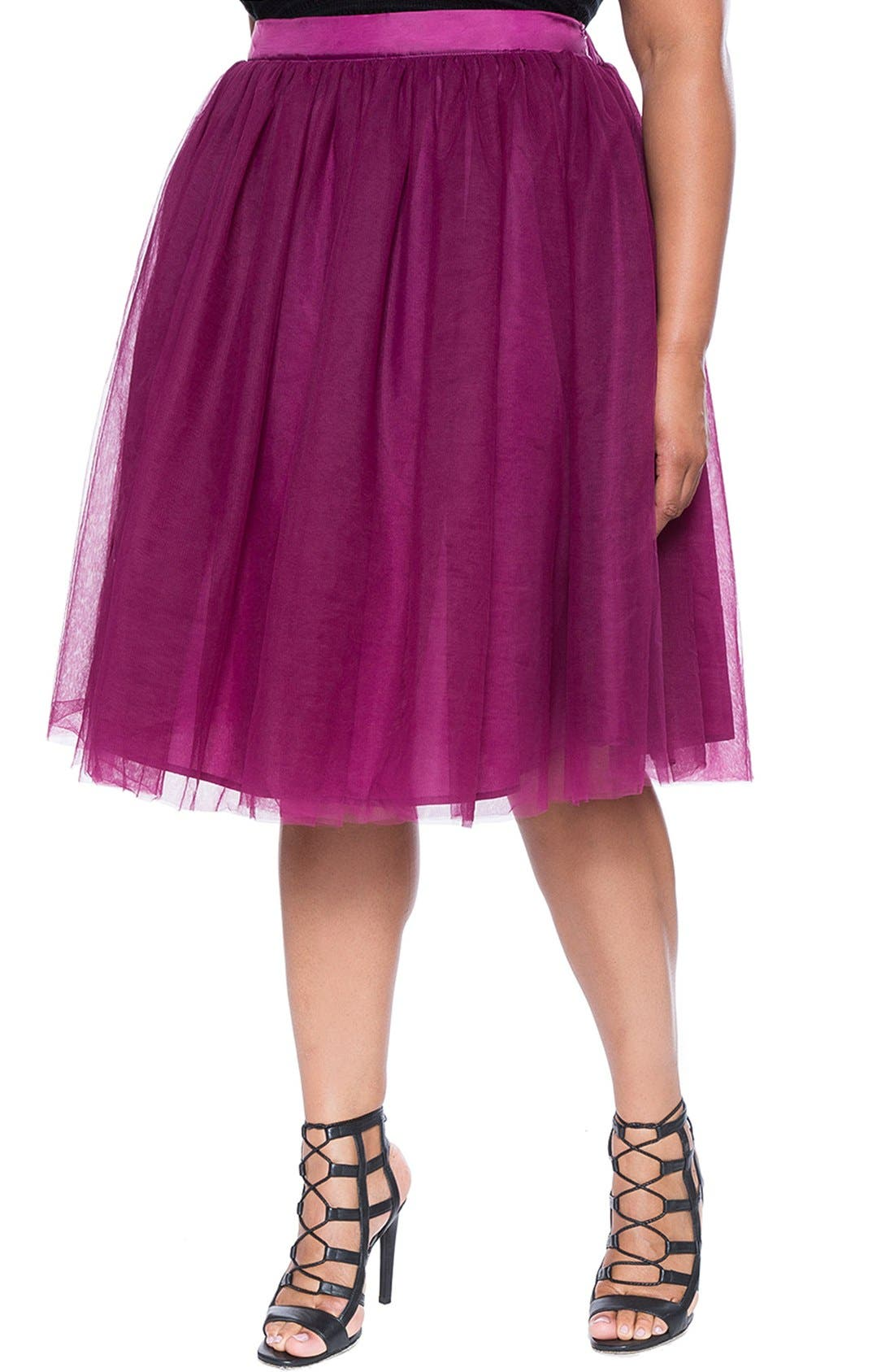Main Image - ELOQUIITulle Midi Skirt (Plus Size)
