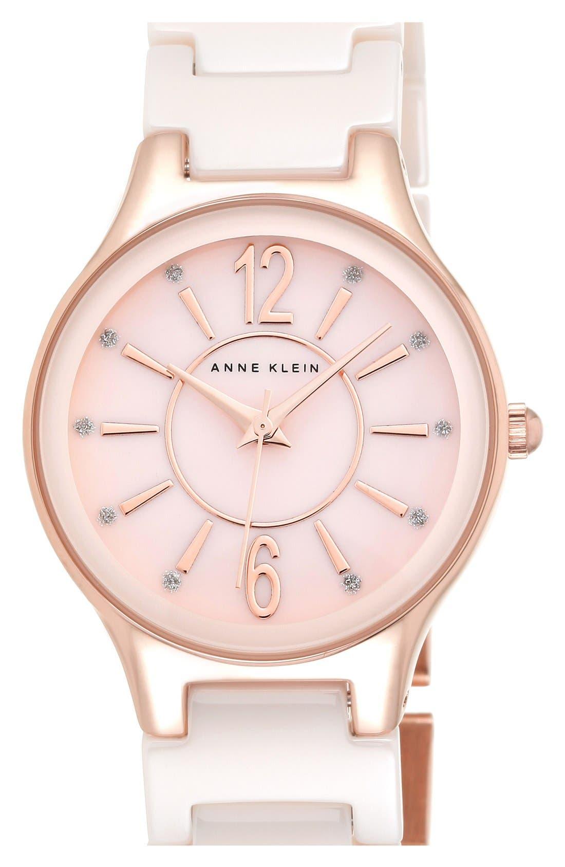 Alternate Image 1 Selected - Anne Klein Ceramic Bracelet Watch, 30mm