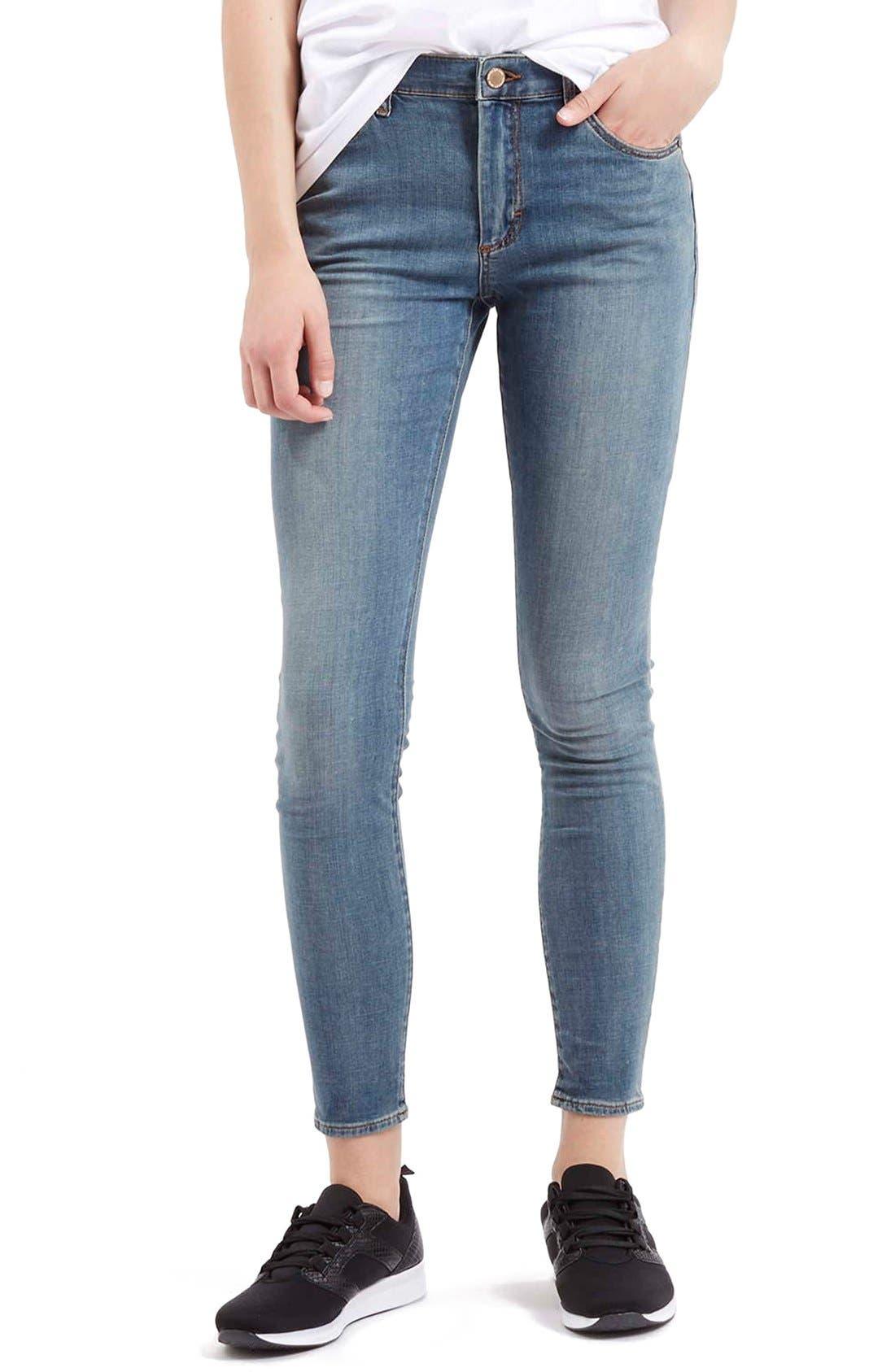Main Image - TopshopMoto'Leigh'AnkleSkinny Jeans (Light Denim)