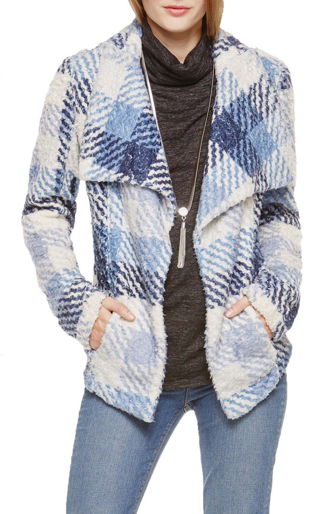 Main Image - Two by Vince Camuto Fuzzy Plaid Drape Front Coat