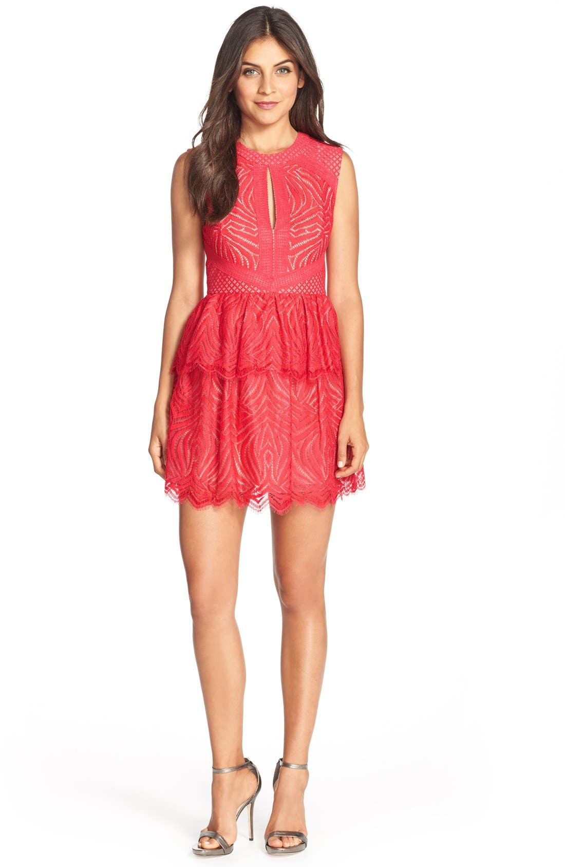 Alternate Image 3  - BCBGMAXAZRIA 'Micaila' Tiered Skirt Lace Fit & Flare Dress