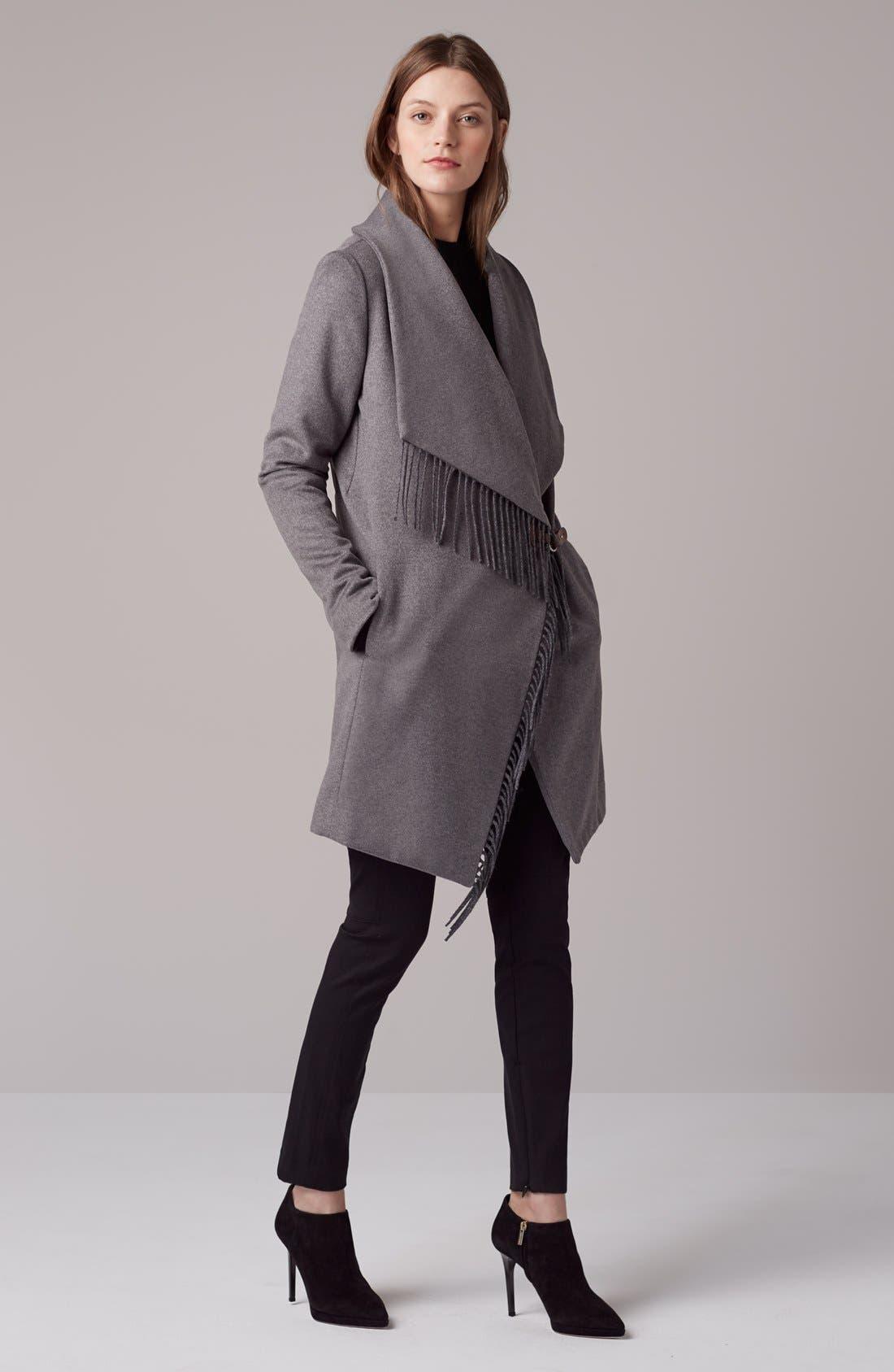 Alternate Image 4  - Lauren Ralph Lauren Fringe Trim LongDrape Front Coat