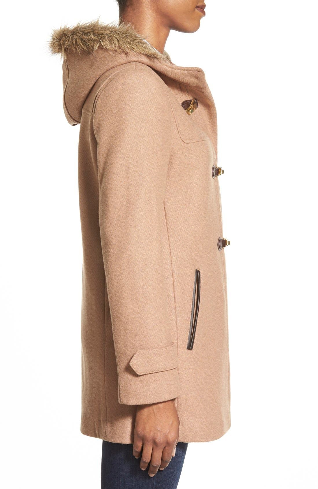 Alternate Image 3  - Cole Haan Faux Fur Trim Wool Blend Duffle Coat