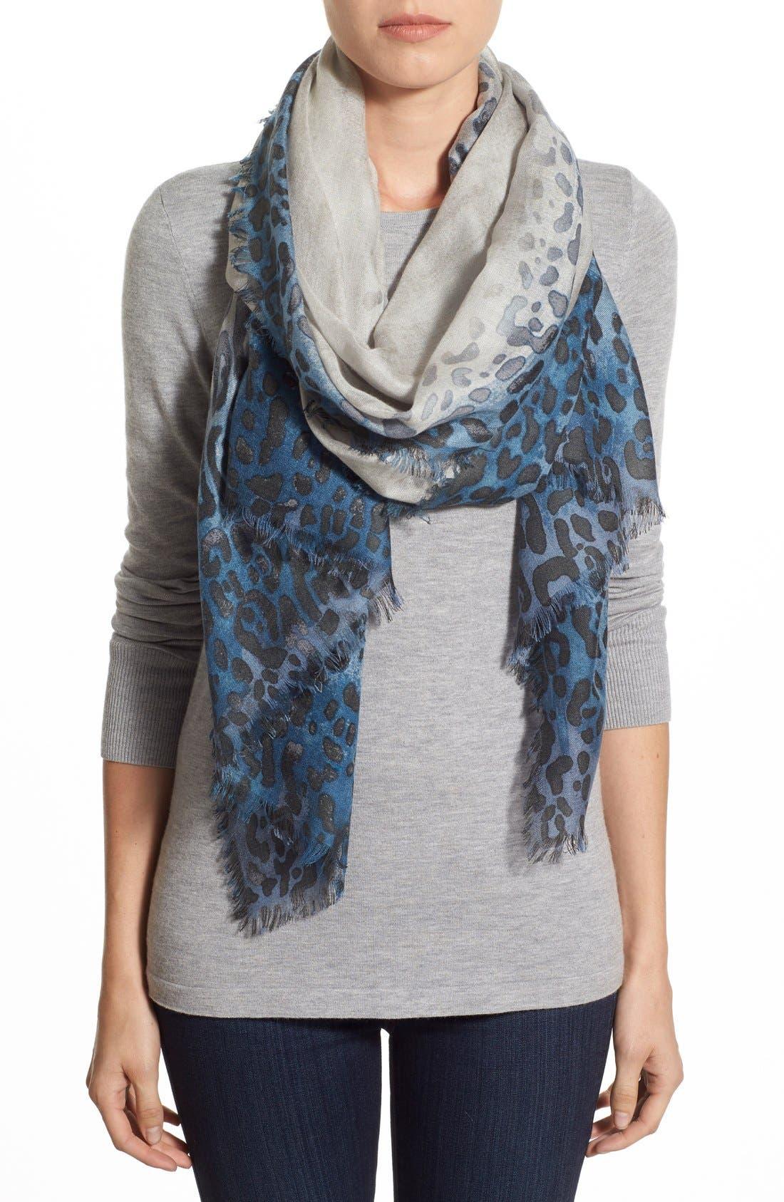 Main Image - Nordstrom Leopard PrintCashmere & Silk Scarf