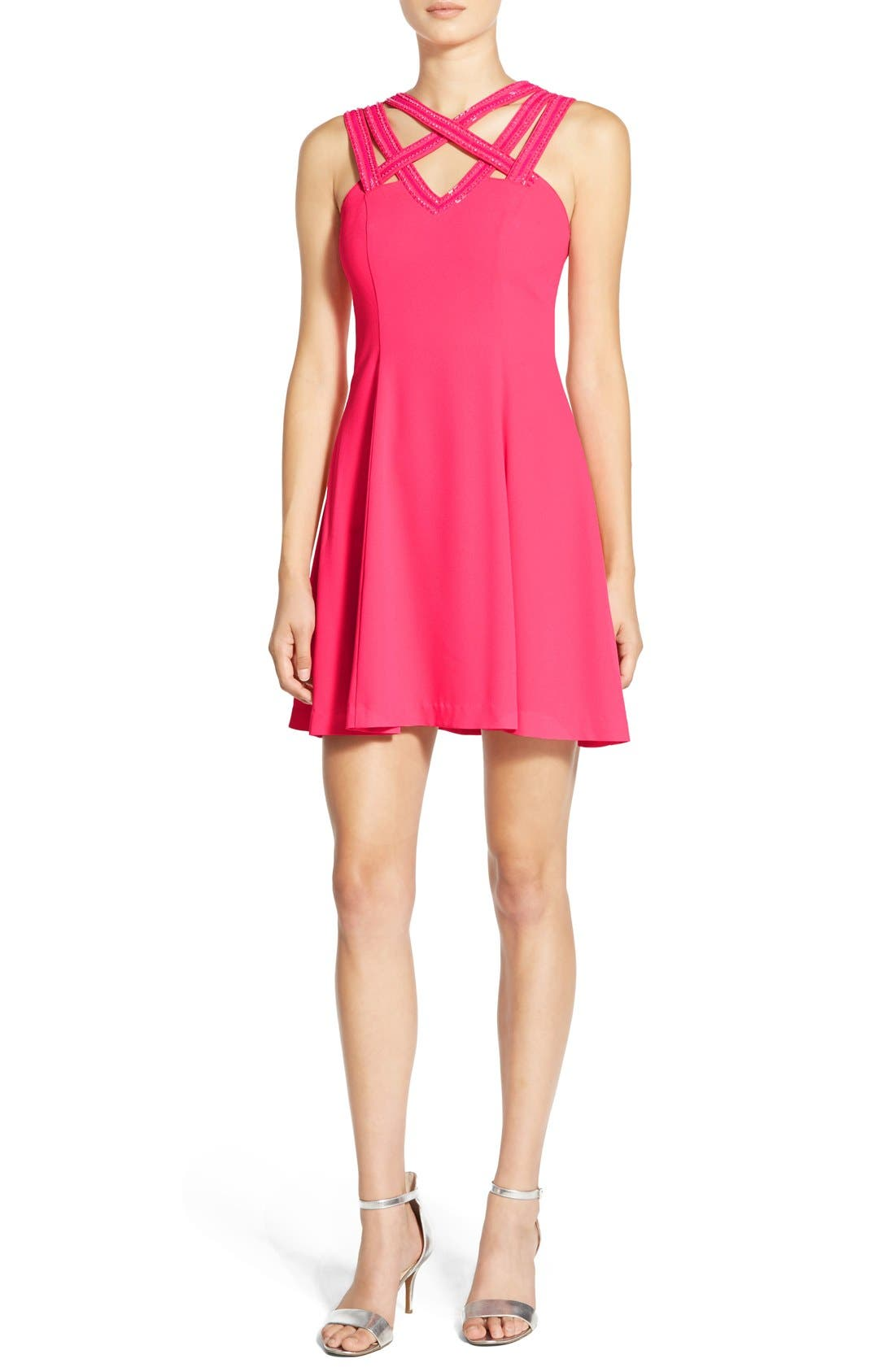 Alternate Image 1 Selected - a. drea Beaded Strap Fit & Flare Dress