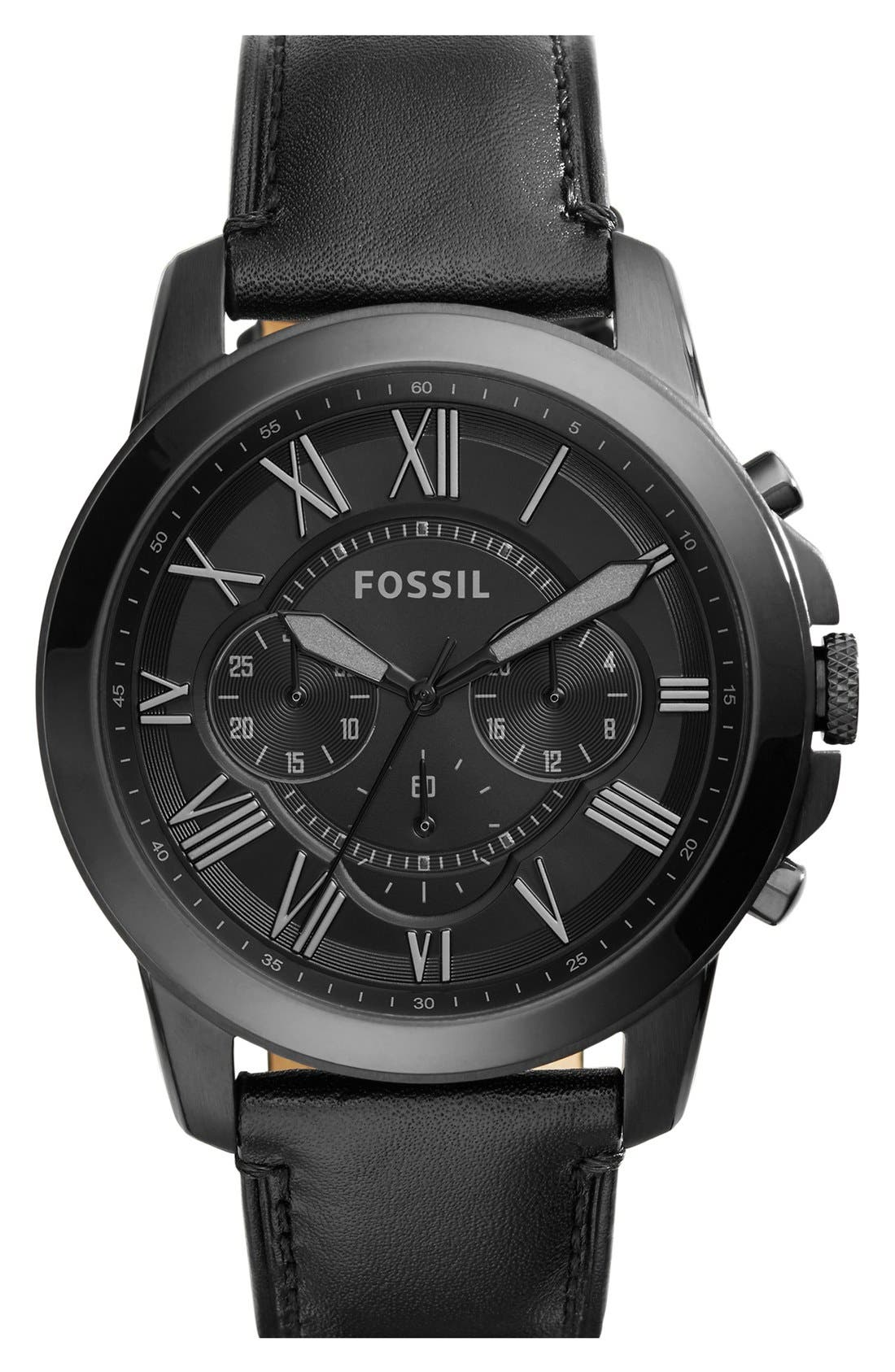 Alternate Image 1 Selected - Fossil 'Grant' Chronograph Leather Strap Watch, 45mm