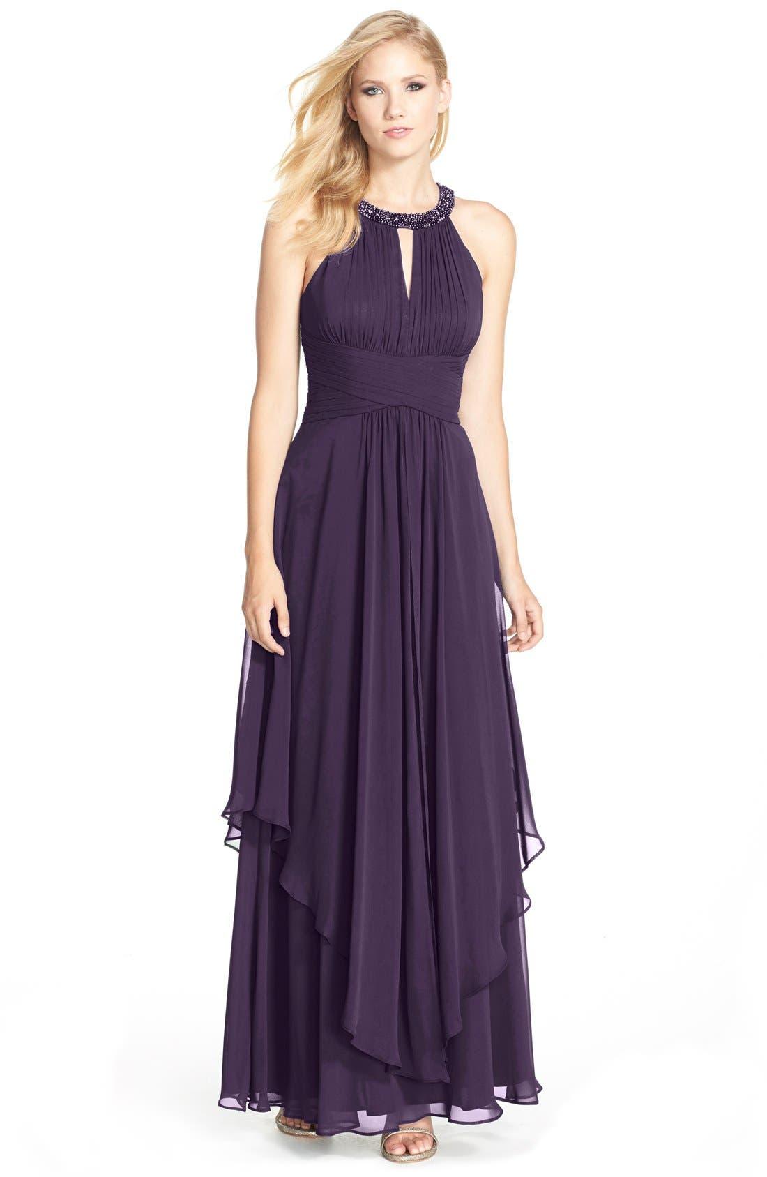 Alternate Image 1  - Eliza J Embellished Tiered Chiffon Halter Gown