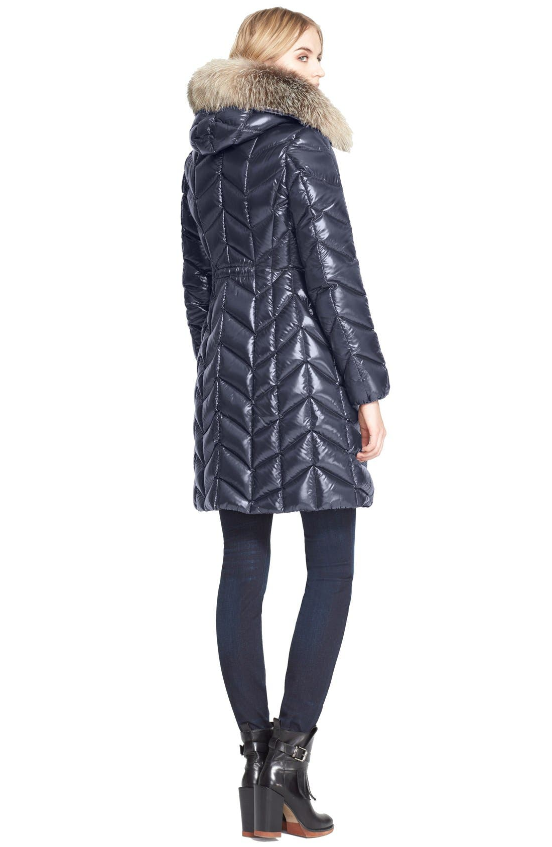 Alternate Image 2  - Moncler 'Bellette' Lacquer Down Coat with Genuine Fox Fur Ruff