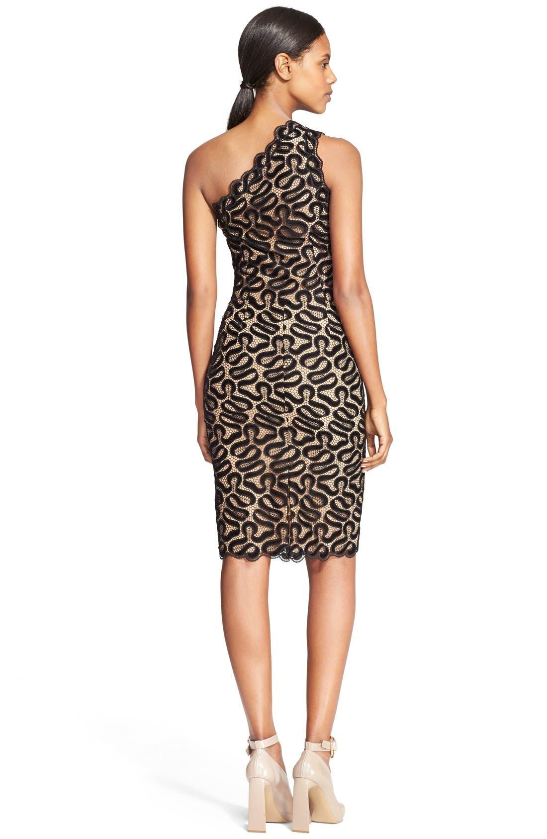 Alternate Image 2  - Stella McCartney One-Shoulder Ribbon Lace Sheath Dress