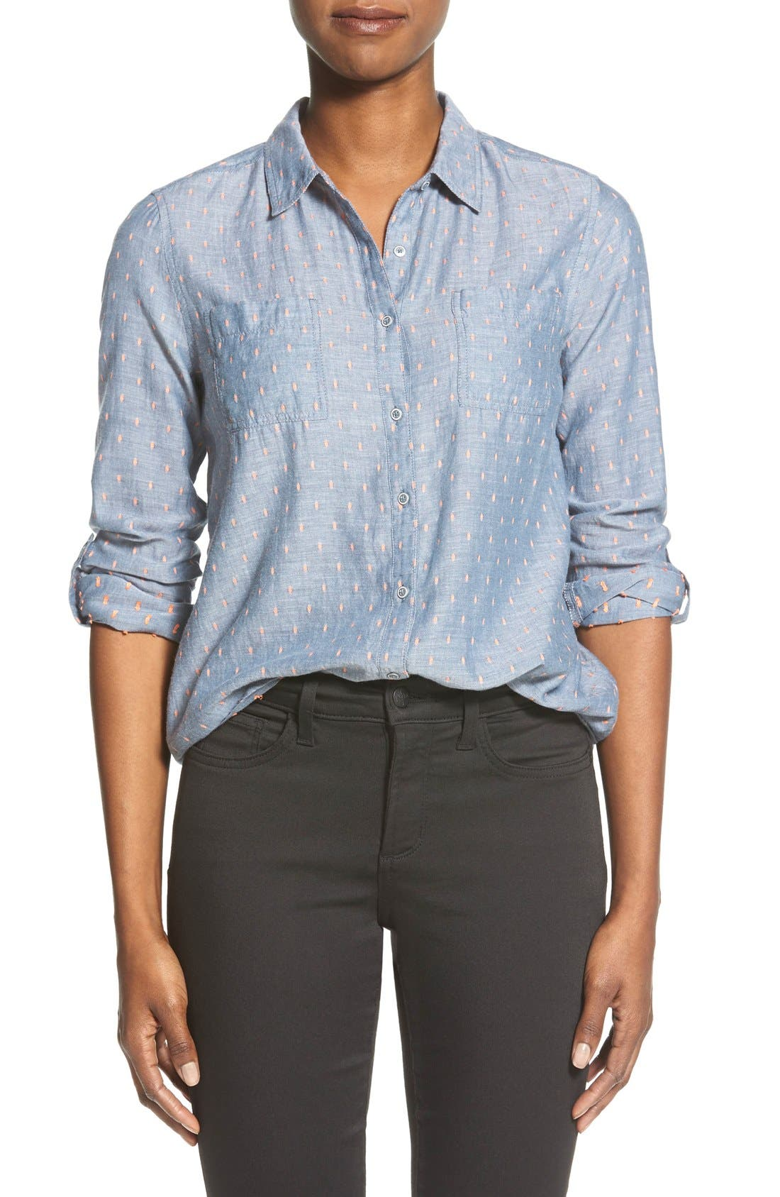Alternate Image 1 Selected - Caslon® Cotton Shirt (Regular & Petite)