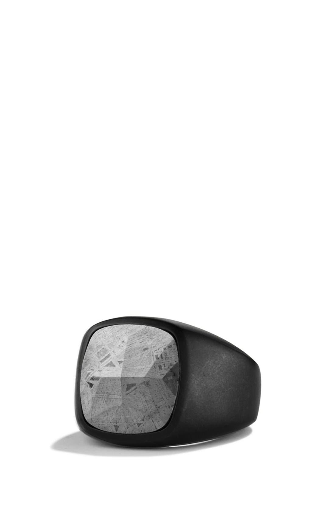 David Yurman 'Meteorite' Signet Ring in Black Titanium