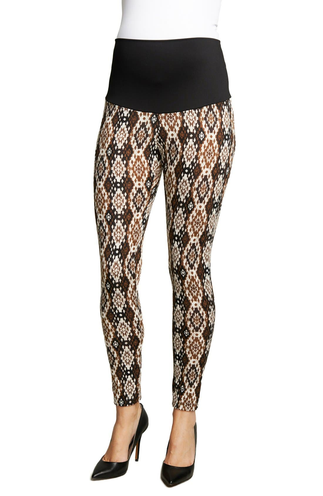 MATERNAL AMERICA 'Belly Support' Ikat Print Maternity Leggings