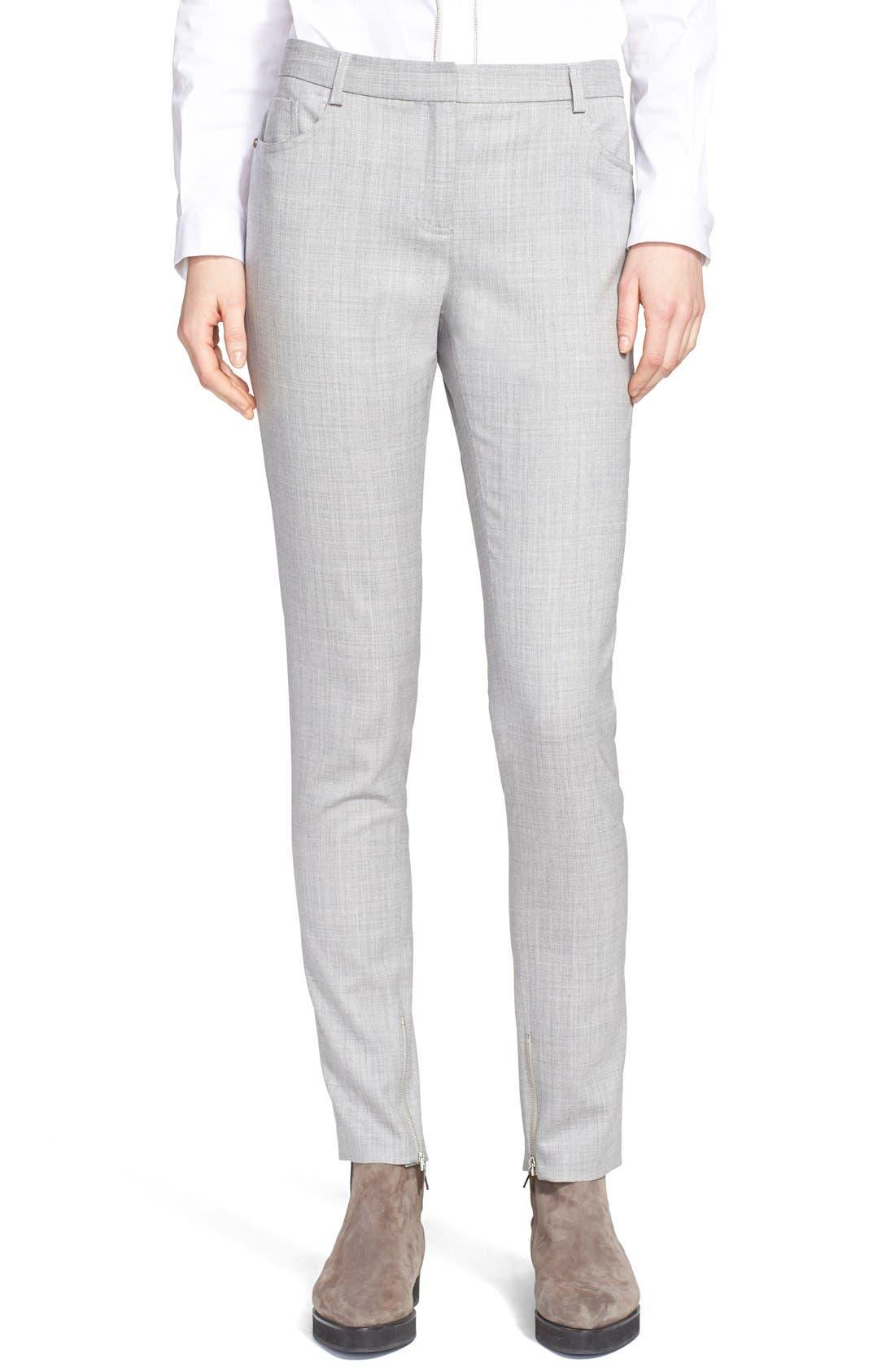 Main Image - Fabiana Filippi Slim Lightweight Wool Pants