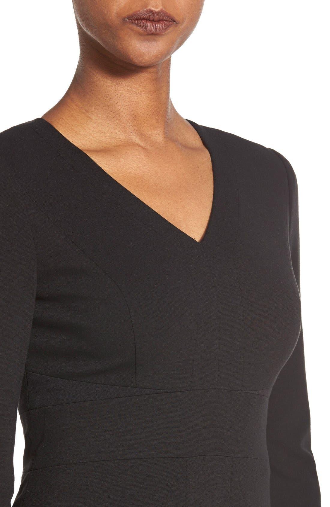 Alternate Image 4  - Classiques Entier® V-Neck Ponte Sheath Dress (Regular & Petite)